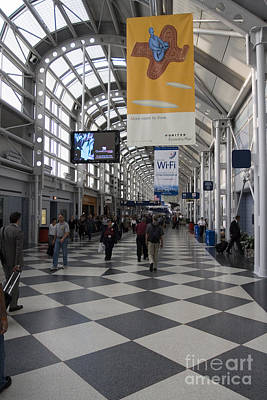 Busy Airport Terminal Concourse At Chicago's O'hare Airport Poster by Christopher Purcell
