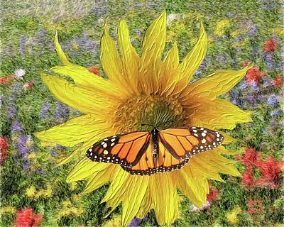 Poster featuring the digital art Butterfly And Sunflower by Richard Stevens