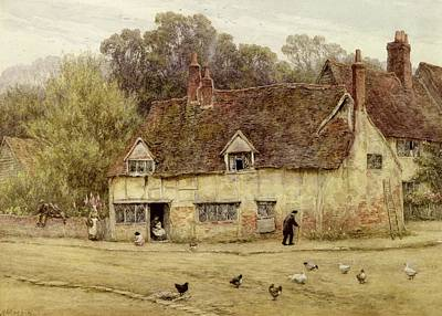 By The Old Cottage Poster by Helen Allingham