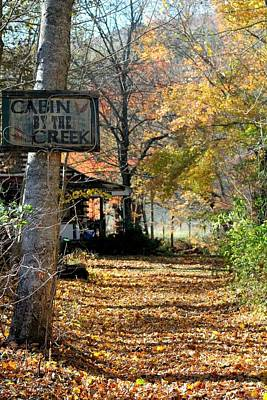 Poster featuring the photograph Cabin By The Creek by Laurinda Bowling