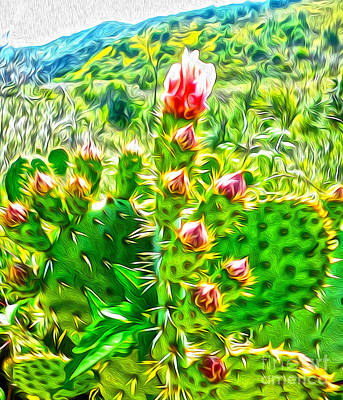 Poster featuring the painting Cactus Flower by Gregory Dyer