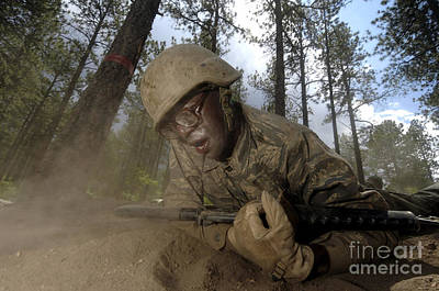 Cadet Crawls Down A Section Of An Poster by Stocktrek Images