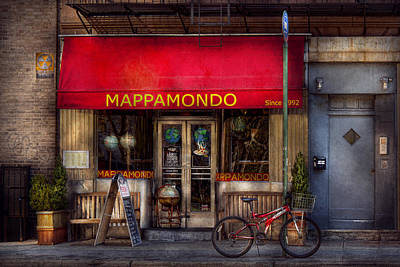 Cafe - Ny - Chelsea - Mappamondo  Poster by Mike Savad