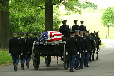Caisson And Honor Guard On The Way Poster by Skip Brown