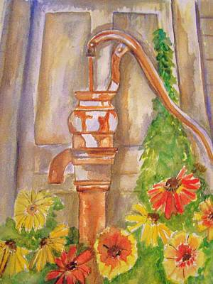 Poster featuring the painting Calico Water Pump by Belinda Lawson