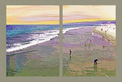 California Beachgoers Diptych 2 Poster by Steve Ohlsen
