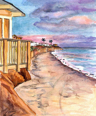 Poster featuring the painting California Coast by Clara Sue Beym