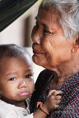 Cambodian Grandmother And Baby #1 Poster by Nola Lee Kelsey