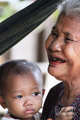 Cambodian Grandmother And Baby #2 Poster by Nola Lee Kelsey