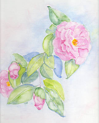 Camellias Pink Poster by Doris Blessington
