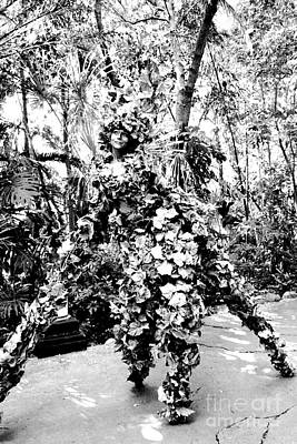 Camouflaged Street Performer Animal Kingdom Walt Disney World Prints Black And White Conte Crayon Poster by Shawn O'Brien