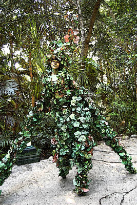 Camouflaged Tree Street Performer Animal Kingdom Walt Disney World Prints Fresco Poster by Shawn O'Brien