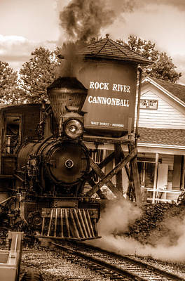 Cannonball Express In Sepia Poster