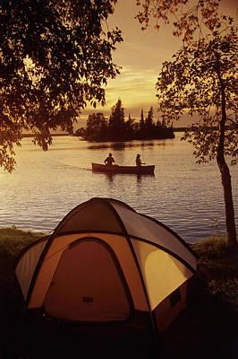 Canoeing At Otter Falls, Whiteshell Poster