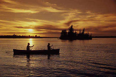 Canoeing At Sunset, Otter Falls Poster by Dave Reede
