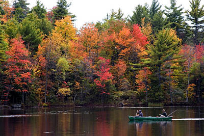 Canoeing In Autumn Poster