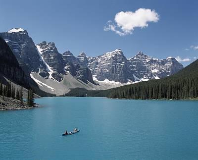Canoeing On Moraine Lake, Banff Poster by Michael Interisano
