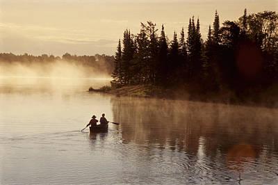 Canoeing On Winnipeg River, Pinawa Poster