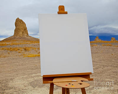 Canvas And Easel In Desert Poster