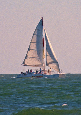 Cape Lookout Sailboat Poster by Betsy Knapp