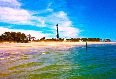 Cape Lookout Shore And Lighthouse Poster by Betsy Knapp