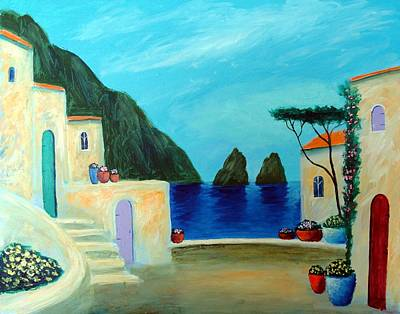Poster featuring the painting Capri Villa by Larry Cirigliano