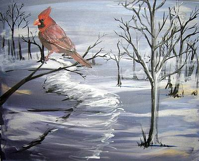 Cardinal In Winter Poster by Diane Peters