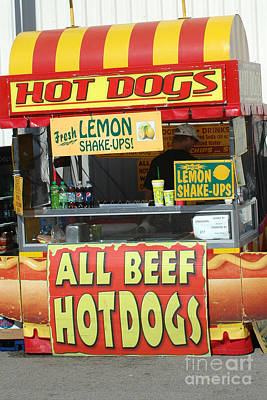 Carnival Festival Fair All Beef Hotdogs Food Stand Poster by Kathy Fornal