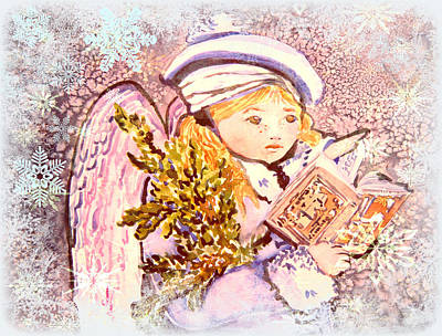 Caroling Angel Poster by Mindy Newman