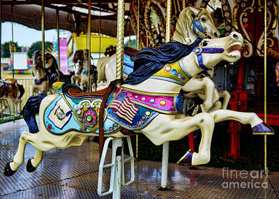 Carousel - Horse - Jumping Poster by Paul Ward