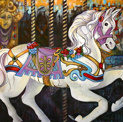 Carousel Horse Hull Massachusetts Poster by Susan Santiago