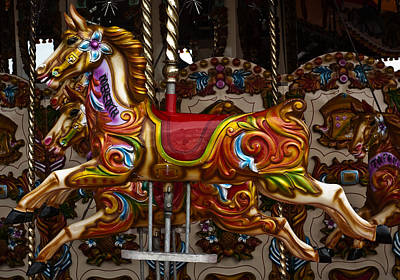 Poster featuring the photograph Carousel Horses by Steve Purnell
