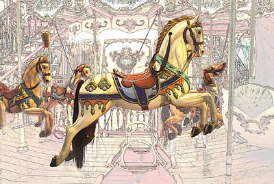 Carrousel With Horses Poster