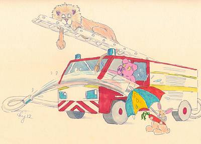 Cartoon Fire Engine And Animals Poster
