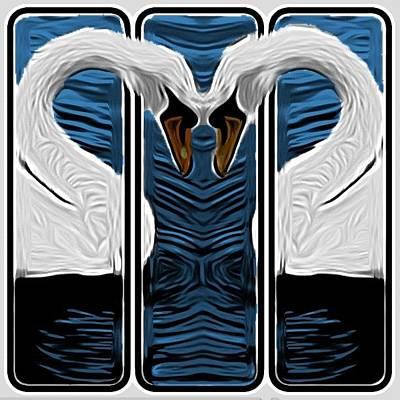 Cartoon Love Swans Poster