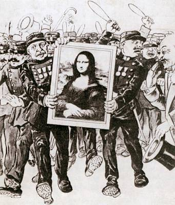 Cartoon Of Police Guarding The Mona Poster by Everett
