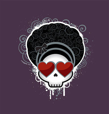 Cartoon Skull With Hearts As Eyes Poster