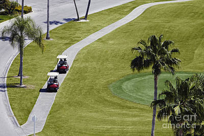 Carts On A Golf Course Poster by Skip Nall