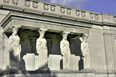Caryatids At The Museum Poster by David Bearden