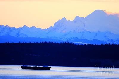 Washington Puget Sound Cascade Waterway Poster