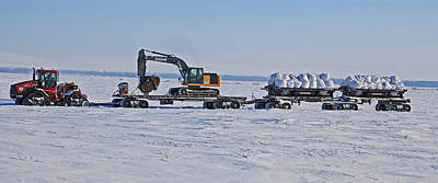 Case Tractor And Catterpillar In The Arctic Poster by Sam Amato