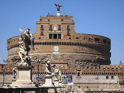 Castel Saint Angelo On The River Tiber. Rome Poster by Bernard Jaubert