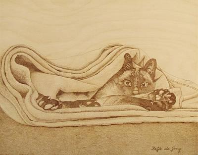 Cat In The Folds Poster by Fay De Jong