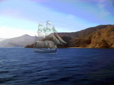 Catalina Shoreline Ghost Ship Poster by Snake Jagger
