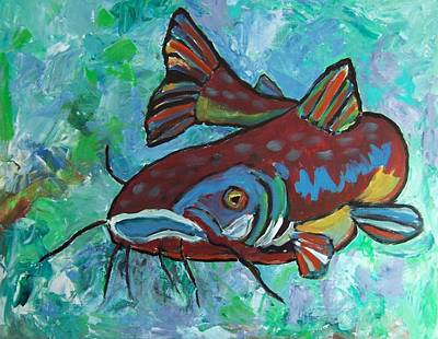 Poster featuring the painting Catfish by Krista Ouellette