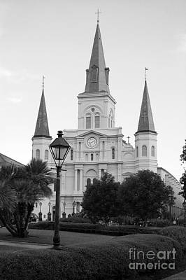 Cathedral And Lampost On Jackson Square In The French Quarter New Orleans Black And White Poster by Shawn O'Brien