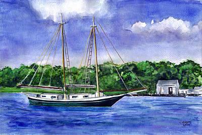 Poster featuring the painting Cedar Beach Schooner by Clara Sue Beym