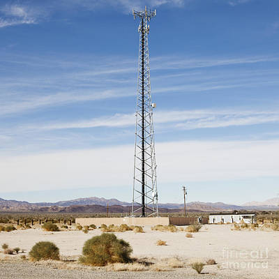 Cellular Phone Tower In Desert Poster by Paul Edmondson
