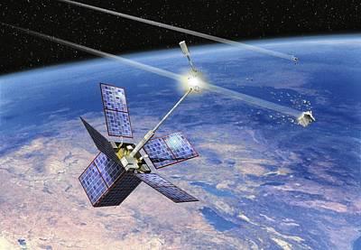 Cerise Satellite Collision, Artwork Poster by David Ducros