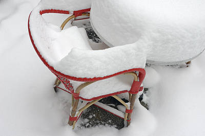 Chair In Winter Covered With Lots Of Snow Poster